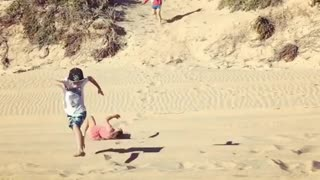 Collab copyright protection - kids beach run girl pink fall - Video