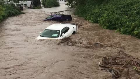 Cars Swept Away in New Jersey Flood