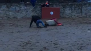 Bull runs through a bunch of guys and knocks one guy off of trash cans  - Video