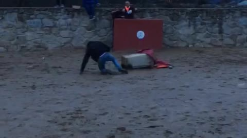Bull runs through a bunch of guys and knocks one guy off of trash cans