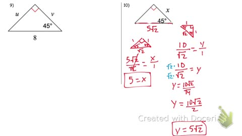 45 45 90 Special right Triangles