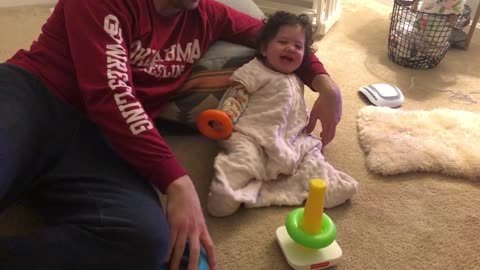 Baby girl sounds like a Pterodactyl while laughing