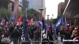 Phoenix, AZ..crowd gathers to watch Rudy during the election hearing
