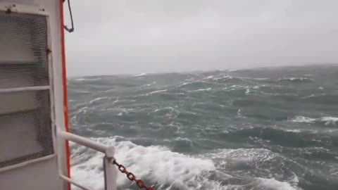 Boat in the North Sea documents the intensity of Storm Ciara