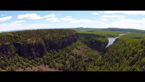 Flying a drone through Ouimet Canyon