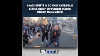 Black Lives Matter and Antifa attack Trump supporters during 'Million MAGA March' in Washington D.C.
