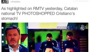 Cristiano Ronaldo's Abs Photoshopped By Rival's TV Station - Video