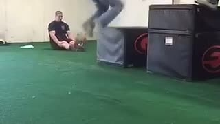 Hoodie/jeans guy jumps on black box and falls on face - Video