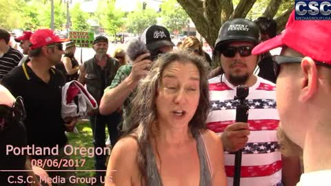 Two AntiFa Howlers Get Schooled On What Freedom Is Then Try To Debate Morality In Portland Oregon