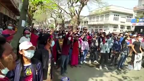 Water cannon and tear gas hit Myanmar protesters