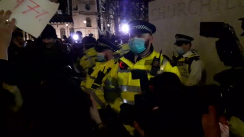 Female Police Officers verbally abused whilst protecting Churchill statue, London.