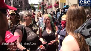 Troglodytes Spew Their White Guilt On Proud Boys At #MarchAgainstSharia In Seattle - Video