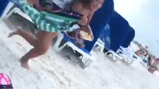 Girl blue swim suit beach eating chased by birds seagulls - Video