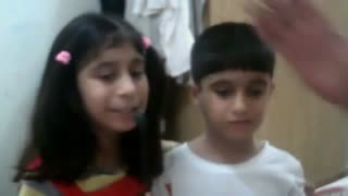 Parents are listening a funny poem from children  - Video