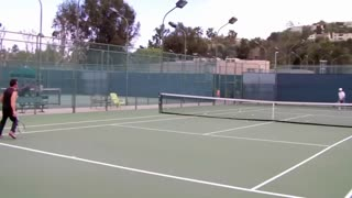 OLD MAN GIVES L.A. TENNIS COACH A RUN FOR HIS MONEY! - Video