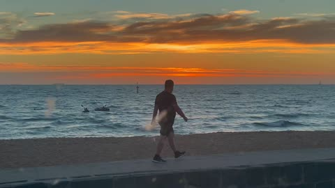 Sunset at St Kilda Beach (The Patriot in the background)