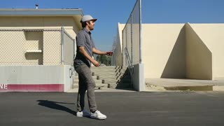 Grey shirt khaki pants stair jump - Video