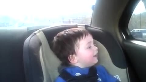 Baby freaks out over sister's school bus