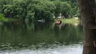 Backflip fail off rope swing into faceplant - Video