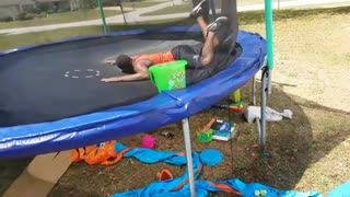 Collab copyright protection - red shirt triple backflip trampoline
