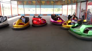 Kids are crazy drivers of small cars in the kids fun land  - Video