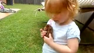 Little Girl Loves Her Bunny!