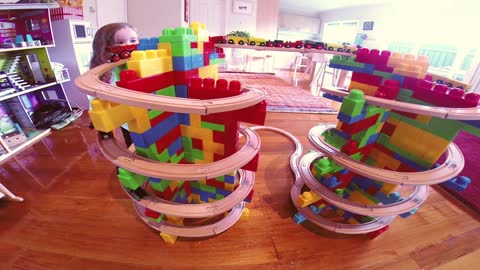 Awesome double mountain spiral train tracks