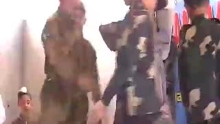 Childern playing army role in school  - Video