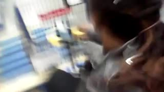 Walmart wheelchair display crash - Video