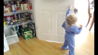 Attention Starved Toddler Locks Herself In Pantry - Video