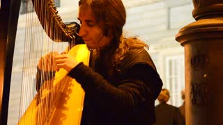 Awe-inspiring harp player in Madrid - Video