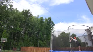 Kid hits 70-foot backflip basketball shot using his legs - Video
