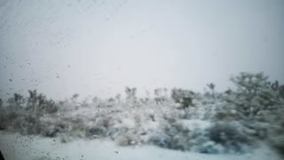 driving through death Valley with snow