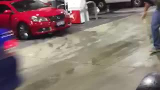 Hit and run at Canning Vale petrol station - Video
