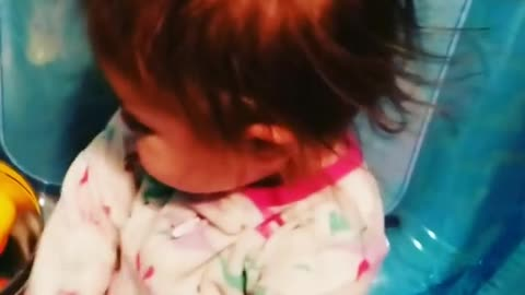 Inflatable toy causes chaos for baby's hair