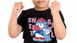 Turquoise Colour Graphic Tee for Kids - Video