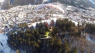 Speed Flyer Does Barrel Rolls Over Chamonix - Video