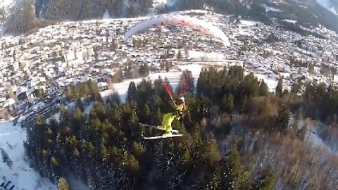 Speed Flyer Does Barrel Rolls Over Chamonix