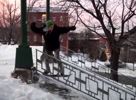Impressive Snowskate Trick Over 22 Stairs! - Video