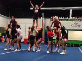 Cheerleading Stunt Gone Wrong!