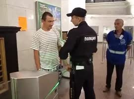 Russian compacted with policeman