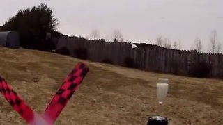 Boomerang Trick Shots Knock Over Drink Glass - Video