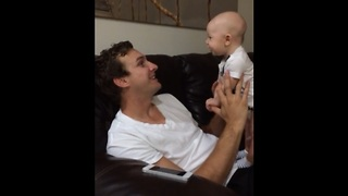Four-Months-Old Baby Says 'I Love You' To Daddy - Video