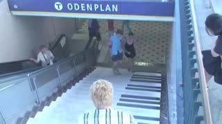 Staircase turned into piano keys, great. - Video