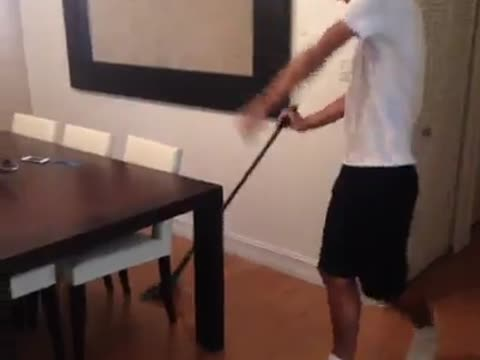 Cleaning the house..