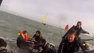 Sailboat Wipeout During High Speed Race - Video