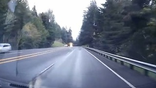 Driver's Dash Cam Captures Vehicle Rollover - Video