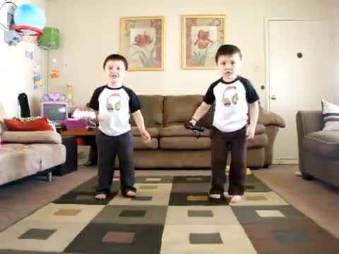 Dancing Twins Play Wii