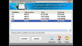 How to convert NTFS to FAT32 without formatting partition or lossing data - Video