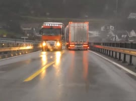 Truck Almost Gets Blown Into Oncoming Vehicle!  - Video
